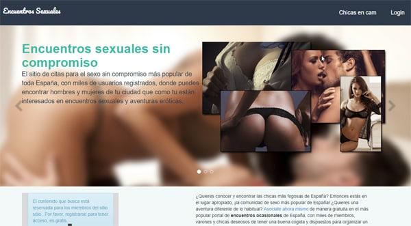 La página inicial del sitio encuentros-sexuales.com.es